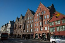 Several old port buildings to the East of the Bryggen.