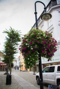 Lamp posts are nicely decorated with flower pots, giving the additional color to the already colorful streets.