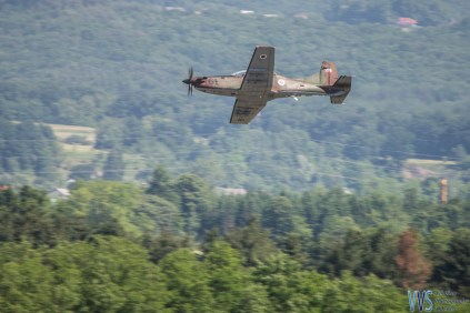 Morning demo flight practice of a Slovenian Pilatus PC-9M Swift.