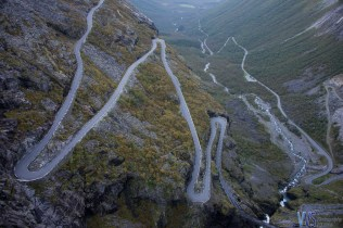 A view from the viewing platform - Trollstigen is one of the most scenic roads in the world. Starting at 858m it descends 320m in 11 hairpin bends.
