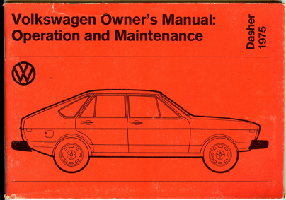 1975 VW Dasher Owner's Manual