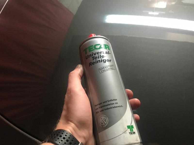 Teilereiniger Bremsenreiniger reparatur Seat Arosa spray VW Lupo Tür schließt nicht Türschloss defekt reparieren Dreck Beifahrer Fahrertür Drehfallenschloss