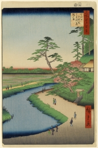 Japanese print, road, stream
