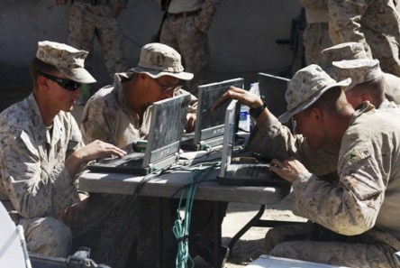 laptops, soldiers