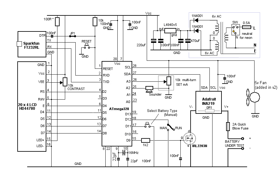 Rechargeable Battery Circuit Diagram : Automatic 12v