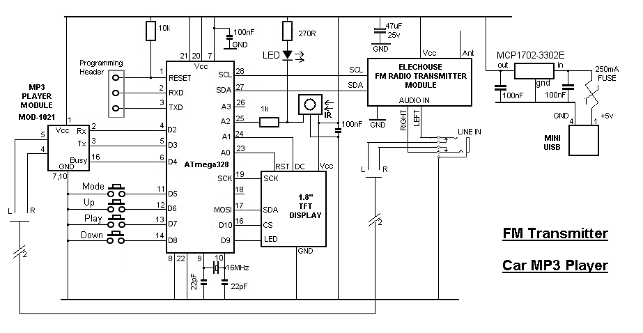 Bluetooth Audio Transmitter Circuit Diagram