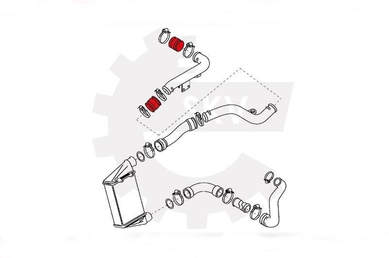 1H0145834J , Passat B4 intercooler cső , TDI összekötő tömlő
