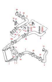 8D0145828L , VW PASSAT B6 AVB Turbócső , VW PASSAT B5 AFN