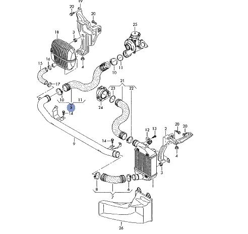 Audi A6 4F 20 PDTDI BLB BNA BRE Turbó intercoolercső jobb
