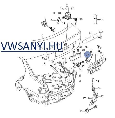 1J5827567A , 1J5 827 567 A , VW Bora csomagtérajtózár