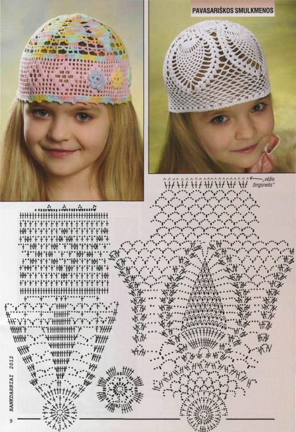 Детские летние шапочки крючком со схемой