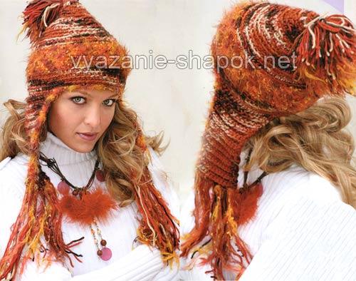 шапка-шлем с ушками и помпоном
