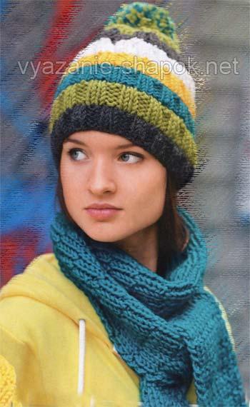 женская шапка с помпоном спицами