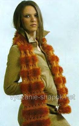 шарф спицами с пряжей травка