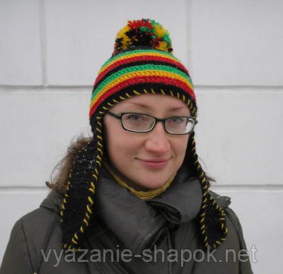 женская растаманская шапка крючком