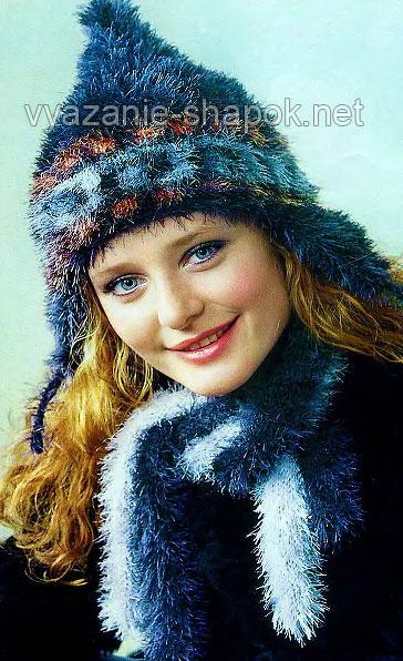 Теплая зимняя шапка из травки спицами 2