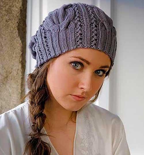 Схема вязания объемной шапки спицами для женщин 511