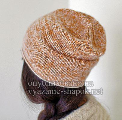 Стильная женская шапка спицами