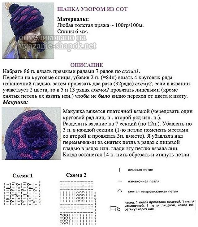 Описание вязания шапочки спицами с узором из сот