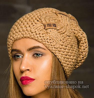 Вязаные шапки со схемами спицами женские с