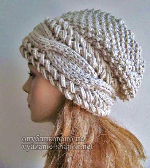 шапка спицами с косами поперек от вики вязание шапок