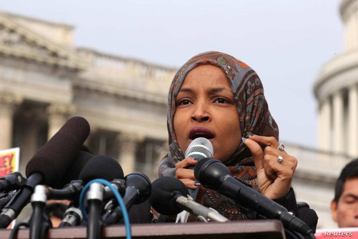 FILE - U.S. Representative Ilhan Omar participates in a news conference at the U.S. Capitol in Washington, Feb. 7, 2019.
