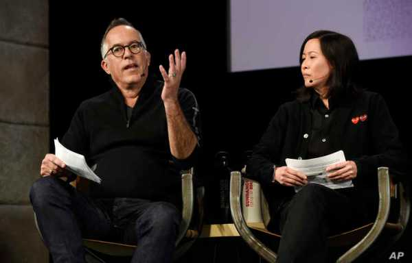 John Cooper, left, director of the Sundance Festival, and Kim Yutani, the festival's director of programming, take part in the…