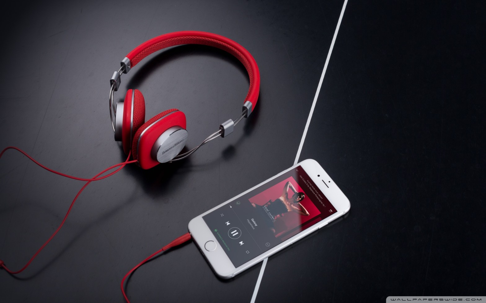red bowers and wilkins p3 headphones