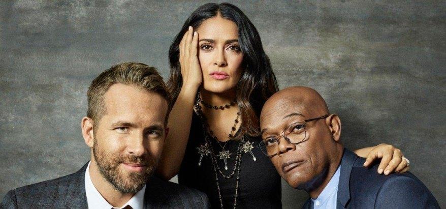 Salma Hayek, Ryan Reynolds y Samuel L. Jackson en The Hitman's Wife's Bodyguard