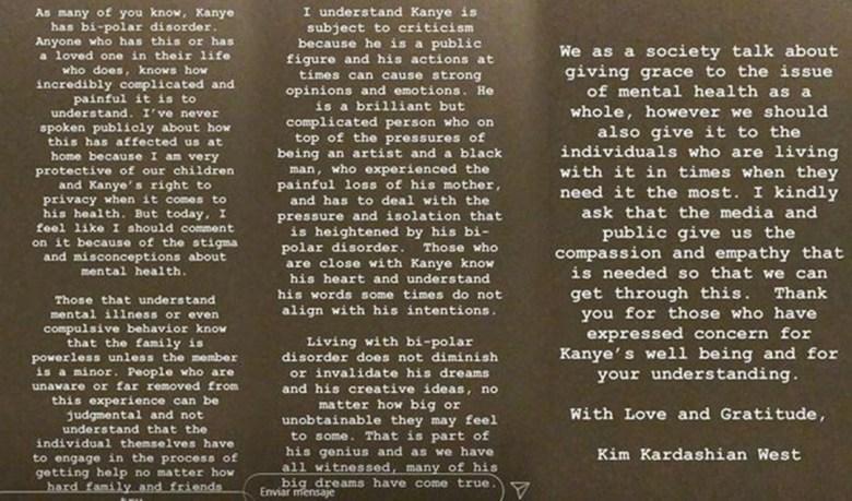 Mensaje de Kim Kardashian