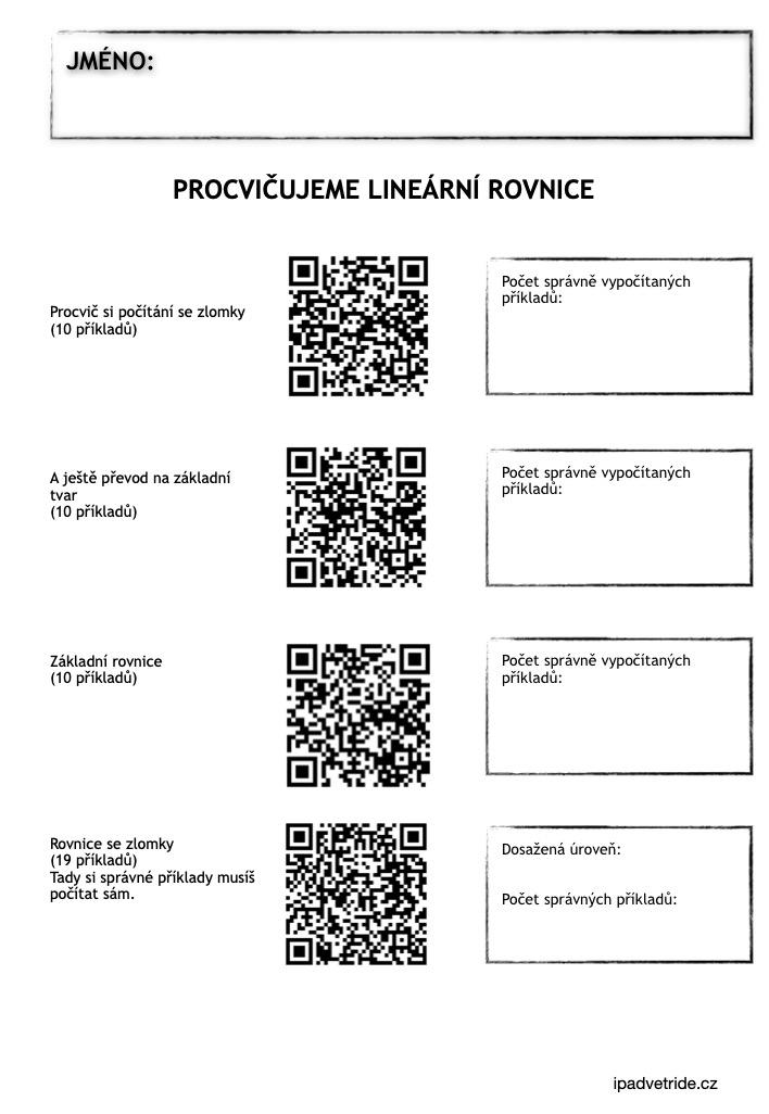 Procvičování pomocí QR kódů