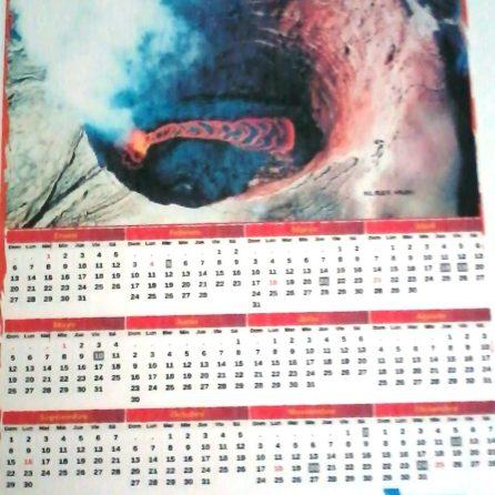Incluye barra de plástico y cola de pato para colgar el calendario.