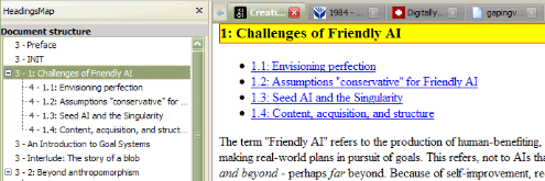 """HeadingsMap view of the """"Creating Friendly AI"""" document"""