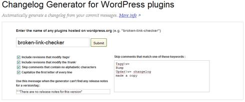Changelog generator for WordPress plugins