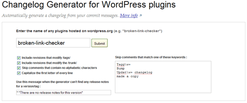 Changelog generator for WordPress plugins