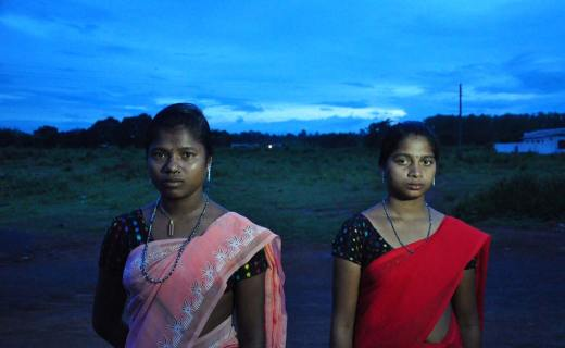Parvathi (left) and Junko (right) at the livelihood college in Adawal block, Jagdalpur district. Police say they surrendered as Naxals and are being given skill training. The girls say they were brought by force and want to go home.
