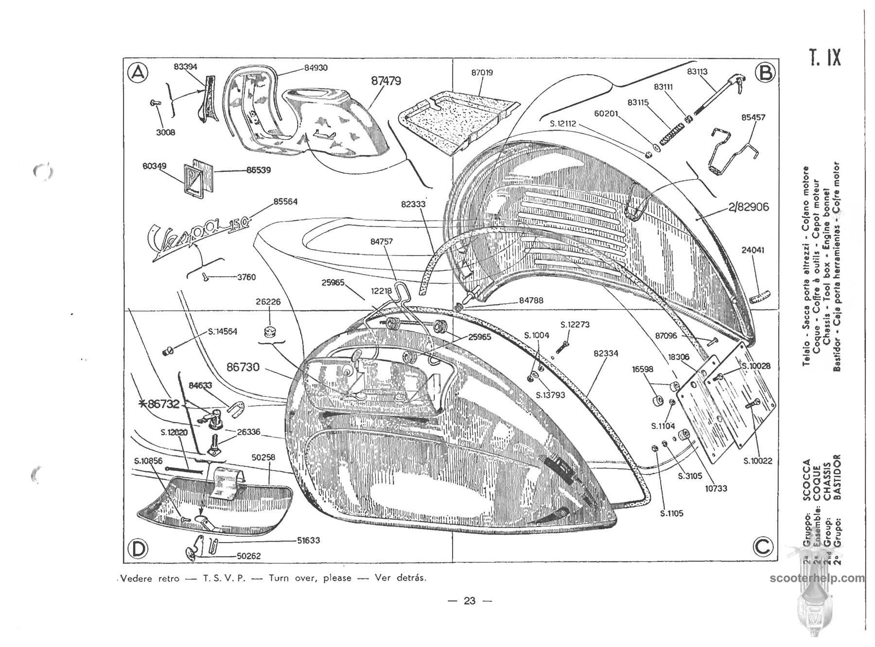 Vespa 150 (VBB1T) Parts Manual