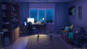 anime computer night living sky interior desktop urban bedroom sofa dark messy wallhaven chill cc 1920 1080p cartoon lofi pc