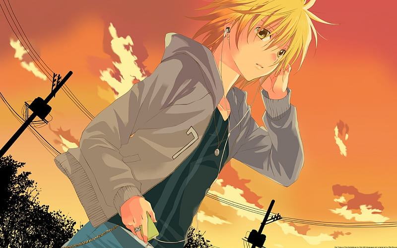 Anime Boy And His Music Music Headphones Sunset Clouds Cute Boy Anime Hd Wallpaper Peakpx
