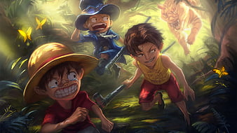 Start by choosing a design you like. One Piece Luffy Ace Sabo On The Forest A Triger Coming On Back Anime Hd Wallpaper Peakpx