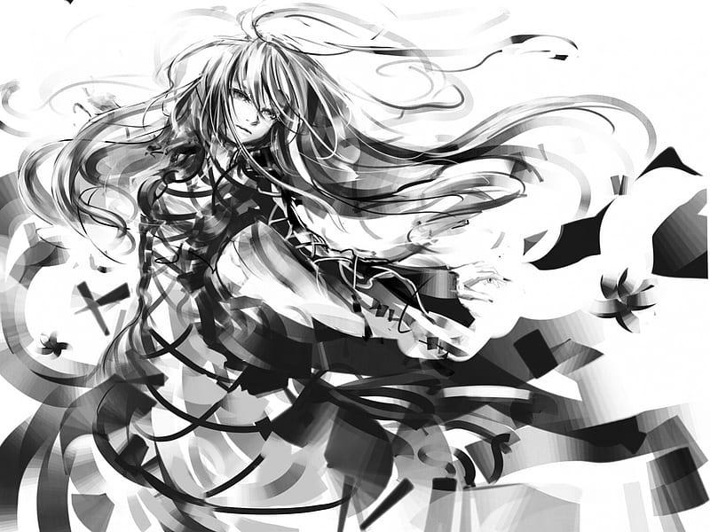 Black White Pretty Dress Black Bonito Sweet Cute Girl Anime Flowers Hd Wallpaper Peakpx