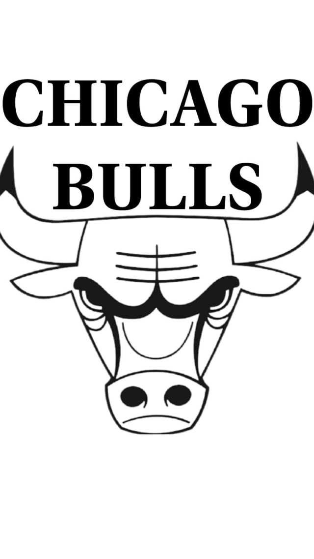B and W Bulls Logo, black, chicago, white, HD mobile wallpaper