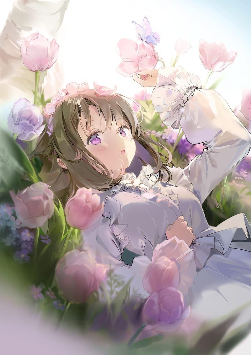 Butterfly Pretty Flowers Beautiful Anime Girl Lying Down Anime Hd Mobile Wallpaper Peakpx