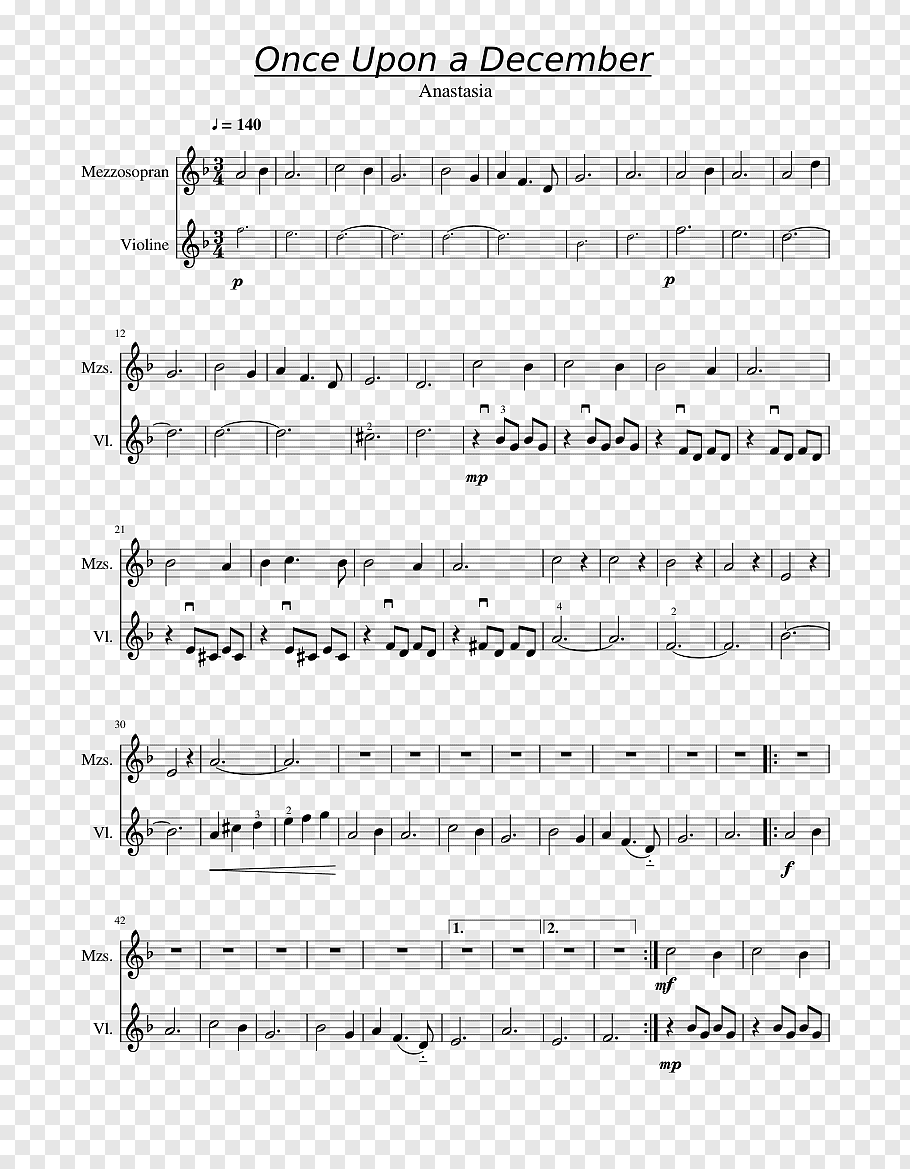 Music Sheet: Once Upon A December Clarinet Sheet Music