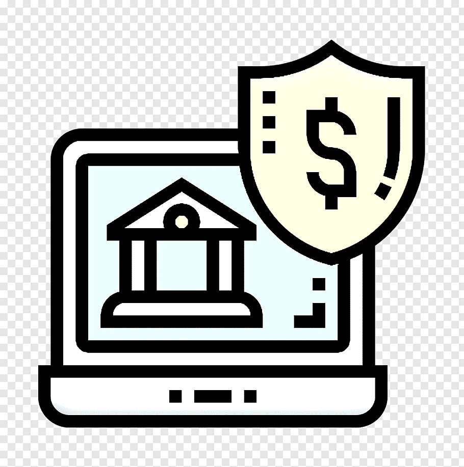 Online Banking Icon Bank Icon Digital Banking Icon Line Art House Sign Signage Symbol Png Pngwave