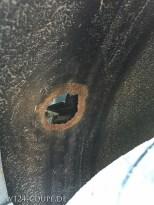 So schaute es aus - ein schönes Loch mit farblich abesetztem Rand im Radkasten