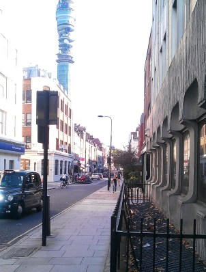 View south down Cleveland Street from Euston Road