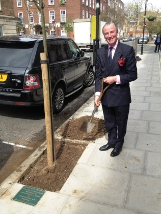 Lord Glenarthur plants the untimate Amelanchier tree in front of King Edward VII Hospital in Marylebone