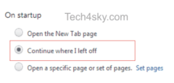 Continue where I left off - Chrome settings