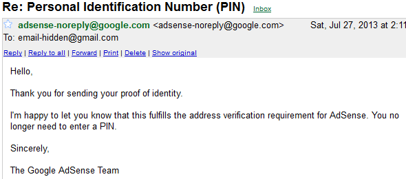 Adsense Personal Identification Number (PIN) verified